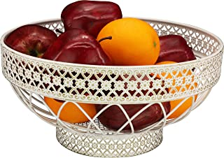 RosyLine, fruit basket, multi-purpose kitchen and living room fruit and vegetable basket, can store fruits, vegetables and snacks of metal fruit bowls,(White Brushed Bronze)