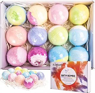 Bath Bombs, PJYBan 12Pcs Bath Bomb Gift Set with Vegan Natural Essential Oils & Coconut Oil & Shea Butter, Perfect for Moi...