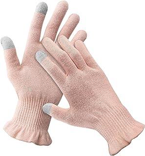 夢の物 おやすみ手袋 ハンドケア 紫外線 UVカット 手荒れ防止 ウィルス対策 綿100 スマホ対応 乾燥 就寝用 夜用 薄手 春夏 1双組 ピンク L/XL