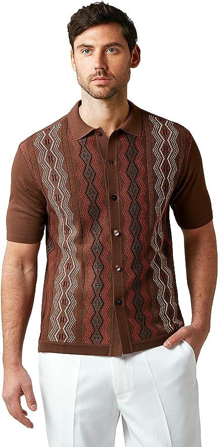 Men's Vintage Clothing | Retro Clothing for Men EDITION S Mens Short Sleeve Knit Shirt - California Rockabilly Style Chain Links Design  AT vintagedancer.com