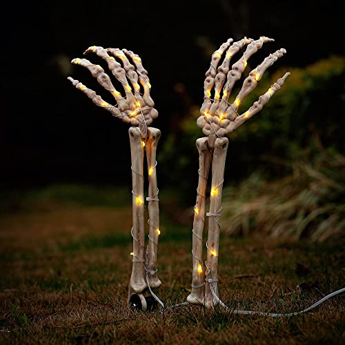 high quality Twinkle Star Halloween Outdoor Decorations, Lighted Skeleton Arms Stakes with 40 LED wholesale Warm new arrival White Lights, Waterproof Battery Operated Yard Stake with Timer, Halloween Lawn Garden Props Decor, Set of 2 outlet online sale