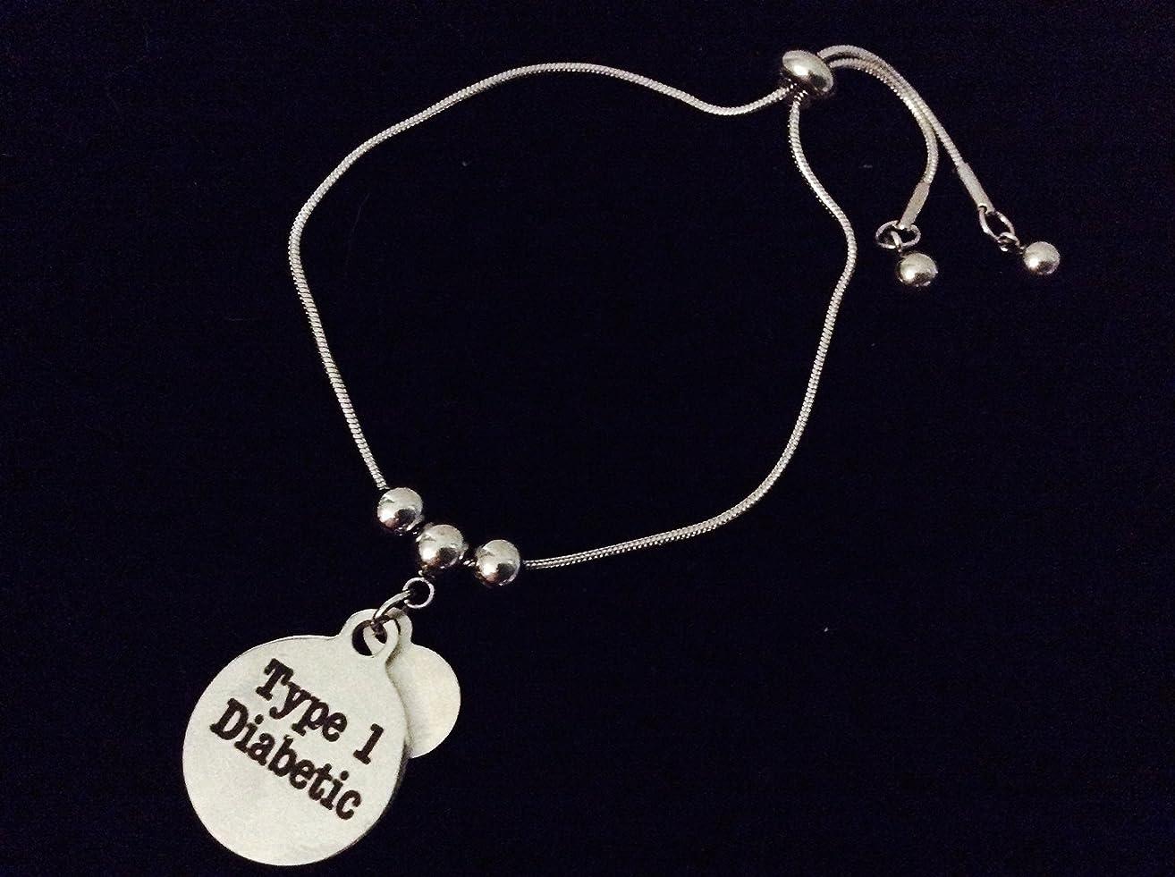 Diabetic Medical Alert Type 1 Type 2 Diabetes Adjustable Bolo Bracelet Stainless Steel Adjustable Bracelet Slider Charm Bracelet Gift One Size Fits All