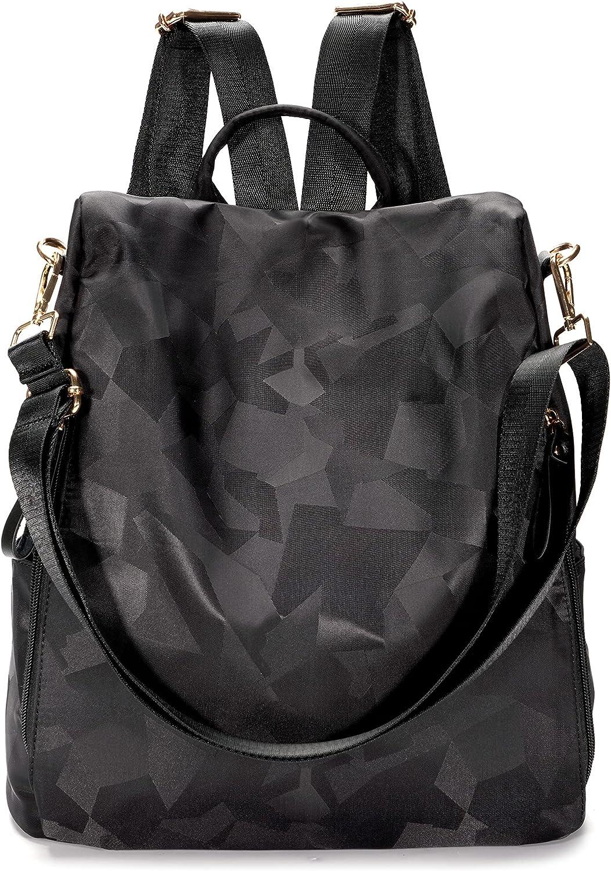 Women Backpack Nylon Shoulder Hobo Handbags Antitheft Travel Daypacks Causal Backpacks Purse (Black)
