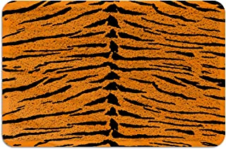 OneHoney Welcome Outdoor Door Mat, Indoor Entrance Non-Slip Doormats, Tiger Skin Print Outside Patio PVC Rug Pad, Heavy Duty Duraloop Mesh Dirt Mud Trapper Orange Animal Texture