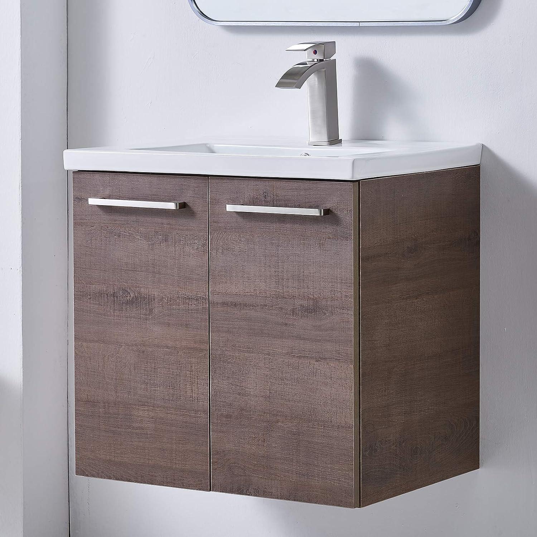 Amazon Com Mogiyin Modern 24 Brown Wall Mounted Bathroom Vanity Simple Design 2 Door 2 Handles Bathroom Sink Cabinet Vanities Combo Set With White Integrated Undermount Ceramic Vessel Sink Tools Home Improvement