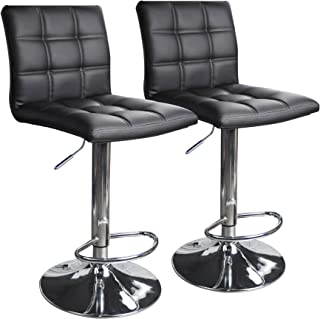 Modern Square PU Leather Adjustable Bar Stools with Back,Set of 2,Counter Height Swivel..