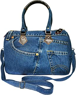 Unique Large Blue Denim Doctor Style Top Handle Shoulder Handbag Purse BL070 (Dark Shade)
