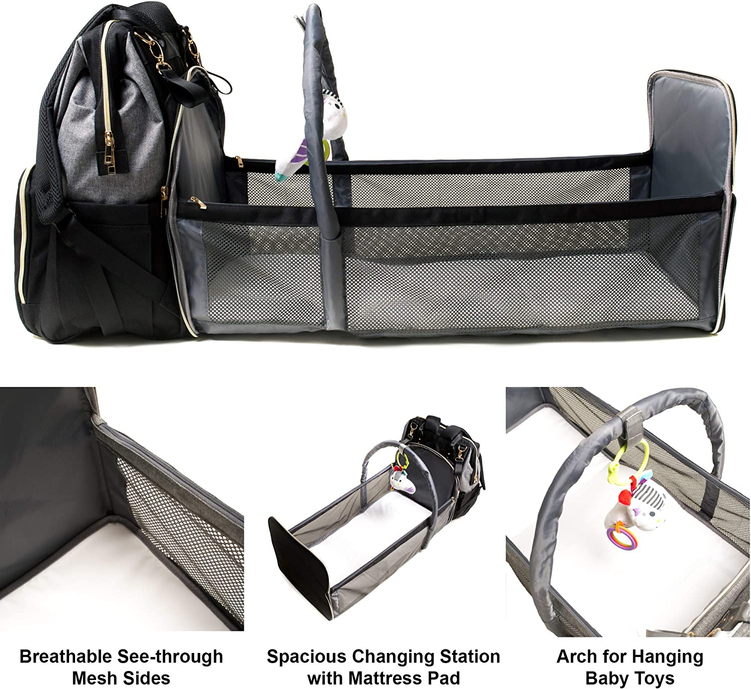 Baby Diaper Bag Backpack Bassinet by Piccoli   3-in-1   Travel   Changing Pad Station   Bed   Portable Crib   Foldable   Waterproof Multi-purpose Lightweight   Large (3-in-1, Black/Grey)