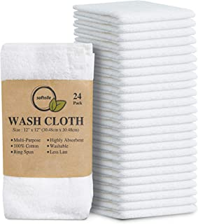 Softolle 100% Cotton Ring Spun Wash Cloths – Bulk Pack of 24 Pieces Washcloths – 12x12 Inches – Wash Cloth for Face, Highl...