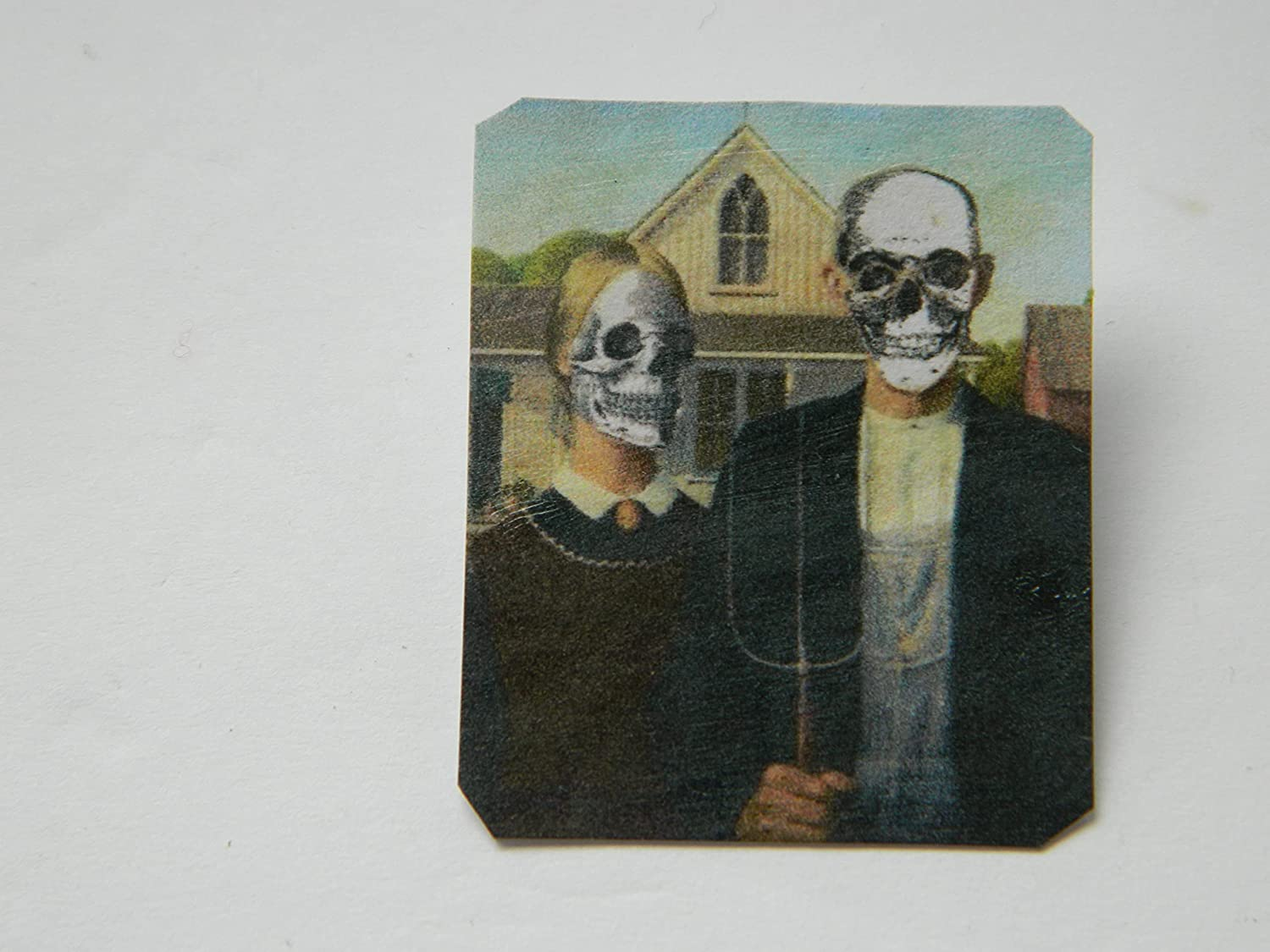 Popular Discount mail order Lapel Pin American Gothic Homage Grant Gothi Halloween Wood 1930