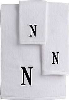 Mandola Home Decor パーソナライズ モノグラム 3枚組 タオルセット 100% コットン バスタオル ハンドタオル フェイスタオル ソフト 吸水性 ホテルスパ品質 Set of 3