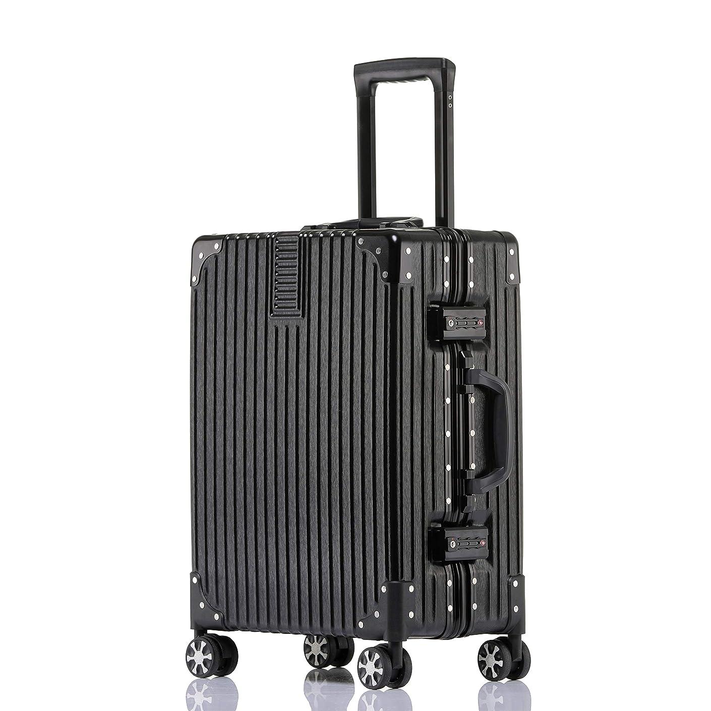 ぼろ混乱させる擬人ビルガセ(Vilgazz) スーツケース アルミフレーム 軽量 キャリーケース 耐衝撃 キャリーケース 機内持込 キャリーバッグ 人気 大型 TSAロック付 静音 旅行出張 ヘアライン仕上げ 1年保証