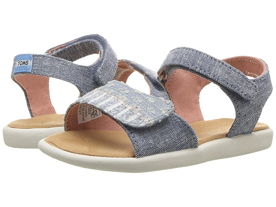 TOMS Kids Strappy (Infant/Toddler/Little Kid) (Blue Slub Chambray/Torn Denim) Girl