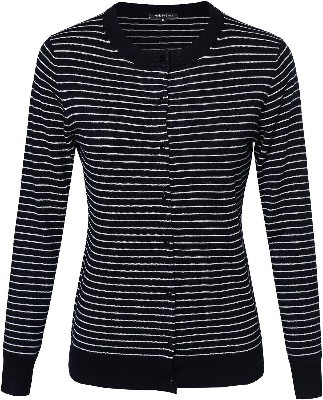 Women's Thin Stripe Button Down Round Neck Long Sleeves Viscose Nylon Cardigan