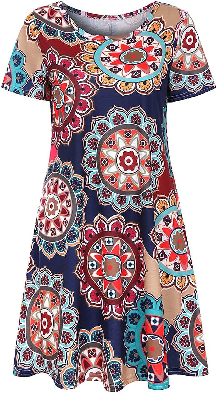 JPVDPA Women Floral Print O-Neck Dress Summer Short Sleeve Ruffle Tunic Dress Loose Swing Casual T Shirt Dress