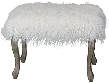 "Cortesi Home Harlow Bench Ottoman, 26"", White Faux Fur with Driftwood Legs"