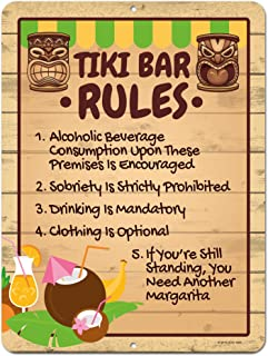 Honey Dew Gifts Tiki Bar Rules, 9 x 12 inch Novelty Tin Tiki Bar Decor and Signs, Tiki Decorations