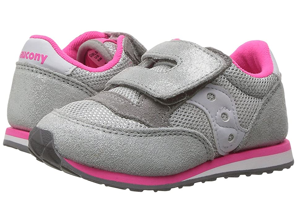 Saucony Kids Originals Jazz Hook Loop (Toddler/Little Kid) (Silver/Pink) Kids Shoes