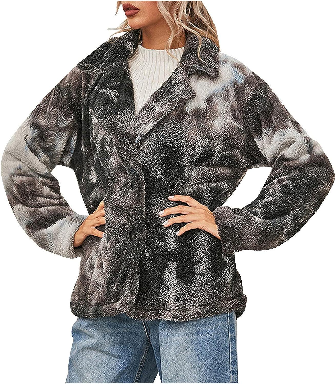 haoricu Women's Outdoor Recreation Fleece Jackets Coat Outwear Fashion Double Breasted Short Coat Cardigans