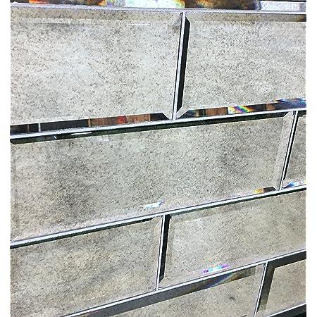 squarefeet depot 4 x 12 wide beveled subway antique mirror tile backsplashes walls 1sf pack 3 pcs