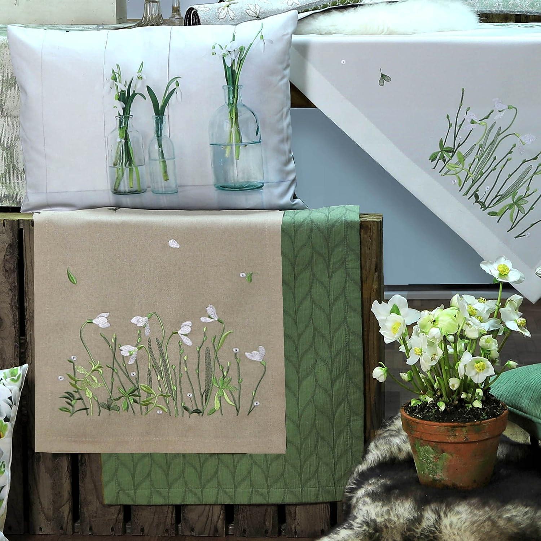 Sander Frühjahr Tischläufer Weiß Weiß Weiß & Grün, 50x140 cm, Farbe 19- sand beige B078WTN4XK cd04d1