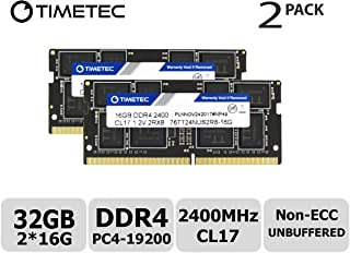 Timetec Hynix IC DDR4 2400MHz PC4-19200 Unbuffered Non-ECC 1.2V CL16 2Rx8 Dual Rank 260 Pin SODIMM Laptop Notebook Computer Memory RAM Module Upgrade (32GB (2x 16GB))