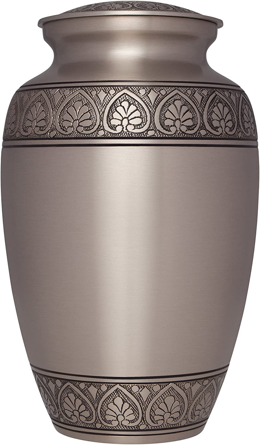 Silver Funeral Urn by Liliane Memorials - Cremation Urn for Human Ashes - Hand Made in Brass -Suitable for Cemetery Burial or Niche - Large Size fits remains of Adults up to 200 lbs- Silver Corinthian