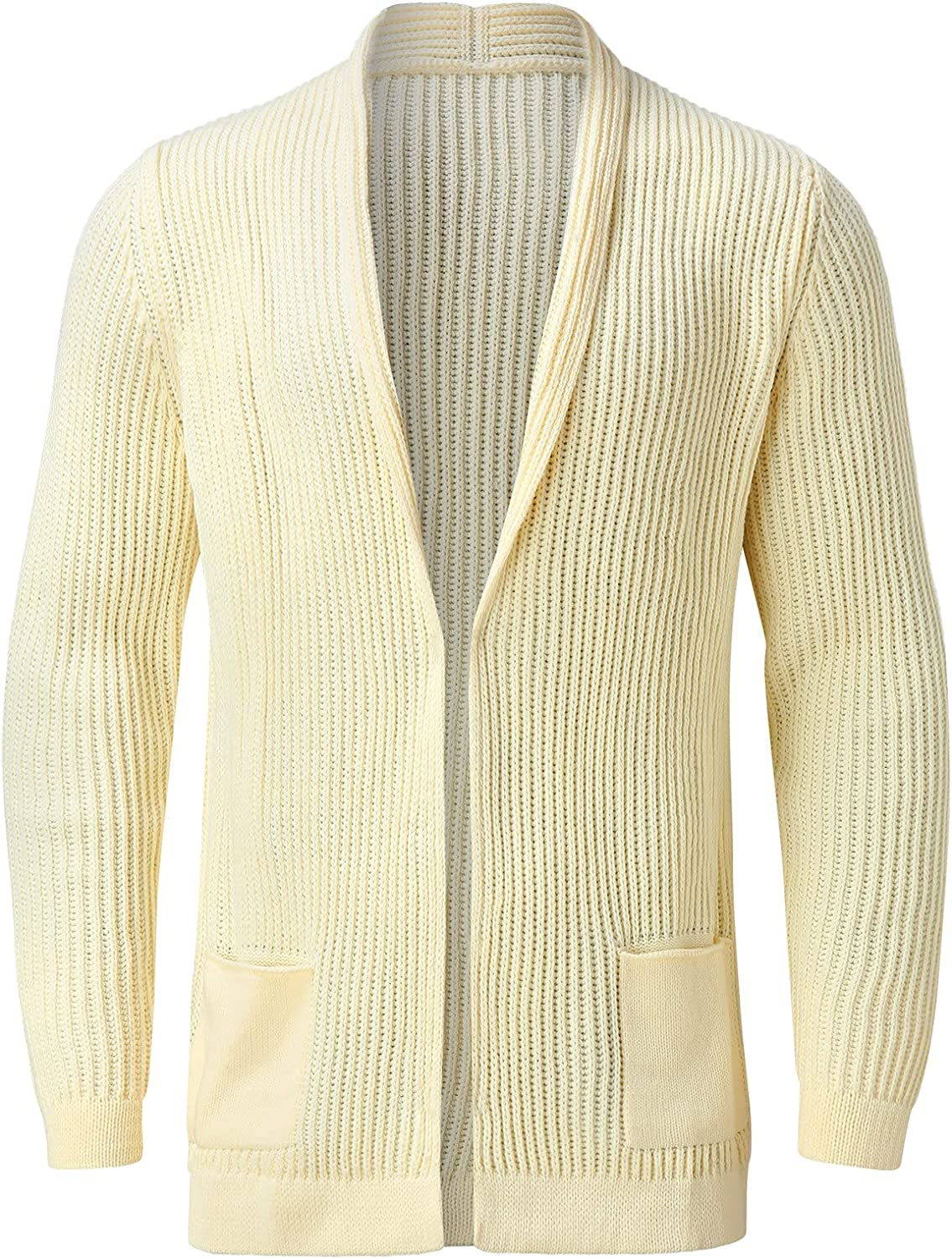 PAOGE Men's Autumn and Winter Long Sleeve Pullover Solid Cardigan Sweater Coat Blouse 2021