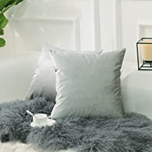 HOME BRILLIANT Set of 2 Plush Velvet Throw Pillow Covers Square Cushion Covers Set Decorative Pillowcases for Bed Bench So...