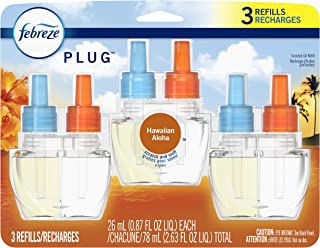 Febreze Odor-Eliminating Plug in Air Freshener Scented Oil Refill, Hawaiian Aloha, 3 Count