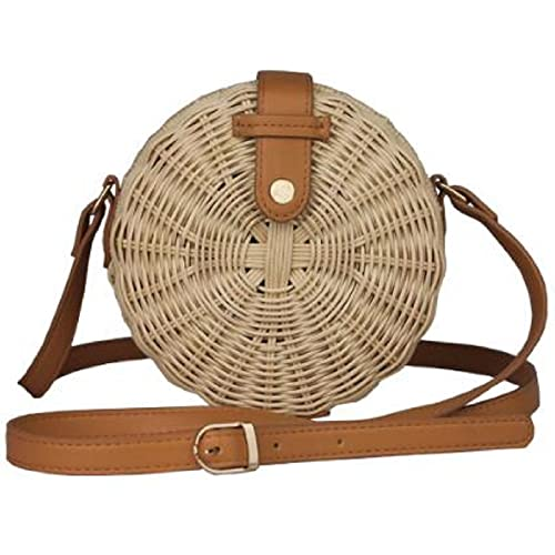 Lush Handmade Woven Round Circle Small Handwoven Straw Wicker Pinstripe Lined Basket Crossbody Button Snap Shoulder