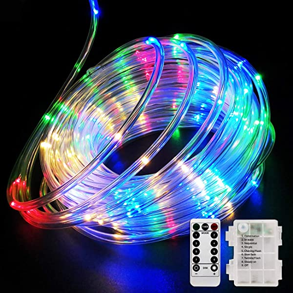 Fitybow 39FT 120 LED Rope Lights Battery Operated String Lights 8 Modes Fairy Lights With Remote Timer Outdoor Decoration Lighting For Garden Patio Party Weddings Christmas D Cor Multi Color