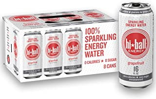 Hiball Energy Grapefruit Sparkling Energy Water, Zero Sugar and Zero Calorie Energy Drink, 16 Fluid Ounce Cans, 8 Count