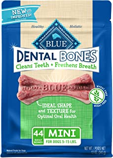 Blue Buffalo Dental Bones Natural Adult Dental Chew Dog Treats  Mini 12oz bag