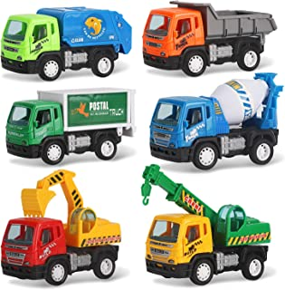 Liberty Imports Set of 6 Pullback City Builder Construction Vehicles for Kids - Dump Truck, Cement Mixer, Garbage Truck, E...