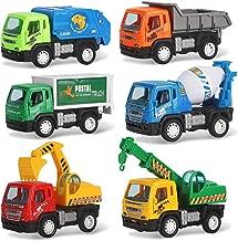 Liberty Imports Set of 6 Pullback City Builder Construction Vehicles for Kids - Dump Truck, Cement Mixer, Garbage Truck, Excavator, Crane, Postal Truck