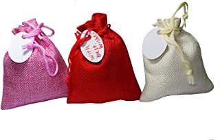 brown leaf® premium jute linen (5*4) inch small potli bags pouch with tags best gifting bag for weeding,birthday party & a...