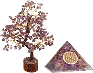 PARUHAS Amethyst Tree Orgone Pyramid Crystal Healing Flower Of Life Reiki Feng Shui Room Décor Buddha Office Décor Good Lu...