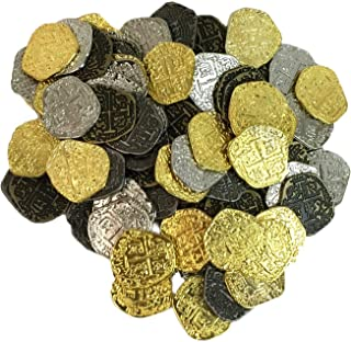 Set of 200 Metal Pirate Treasure Coins - Gold and Silver Doubloon Replicas
