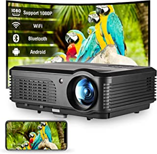 WiFi HD Projector with Bluetooth, 4400 Lumen Support 1080P Android Home Cinema Wireless LCD Video Projector with Smart Pho...
