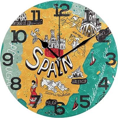 BONIPE Reloj de Pared con diseño de Mapa de España y Dibujos ...