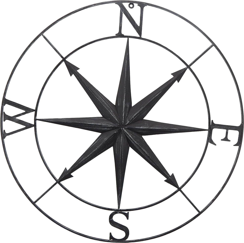 Bellaa 27451 Nautical Compass Star Metal Wall Decor Coastal Deco