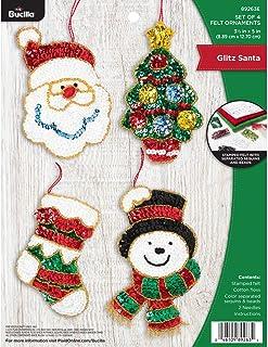Ornament Embroidery KIT 6 Plastic Canvas Needlepoint Miniature Christmas Stocking Pals Holiday Decor DIY Vintage Crafs Kit Needlecraft Shop