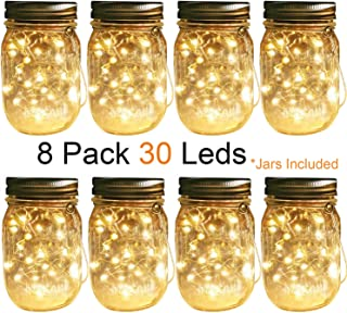 Aobik Solar Mason Jar Hanging Lights, 8 Pack 30 LEDs(Jar & Hangers Included) String Fairy Lights Glass Solar Laterns Table Lights,Great Outdoor Lamp Décor for Patio Garden Yard Deck Floor and Lawn