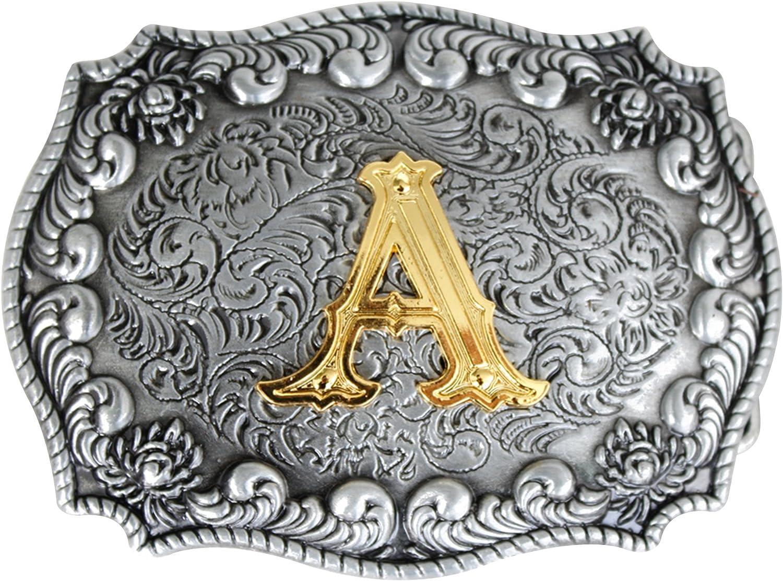 Bai You Mei Cartas iniciales de estilo occidental vaquero de oro grandes hebillas de cinturón
