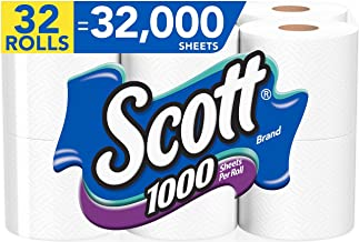 cott 1000 Sheets Per Roll Toilet Paper, 32 Rolls (4 Packs of 8 Rolls), Bath Tissue