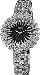 Burgi Crystal Accented Sparkling Dial Women's Watch - Crystal Filled Bezel On Glossy Leather Strap Watch - BUR054