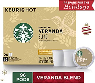 Starbucks Veranda Blend Blonde Roast Single Cup Coffee for Keurig Brewers, 4 Boxes of 24 | Great Holiday Gift for Coffee Lovers