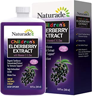 Naturade Children's Elderberry Extract Syrup with Vitamin C & Zinc, 8.8 fl oz (260 ml)