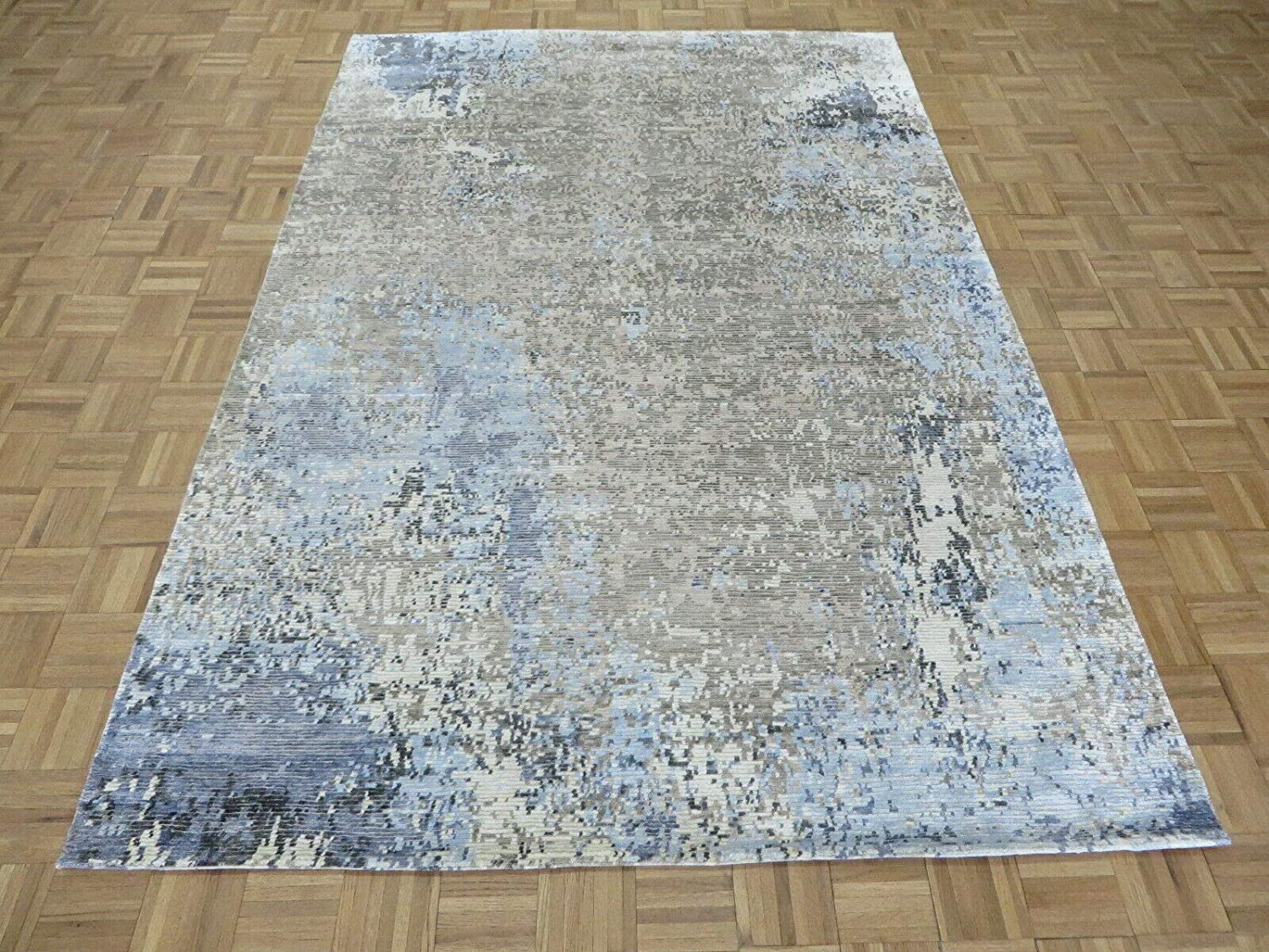 6'1 X Boston Mall 9'2 Hand Knotted Gray Modern Wi 40% OFF Cheap Sale Rug Blue Abstract Oriental